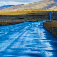 After a light rain, a road in the South Chile, leaving Torres del Paine NP.