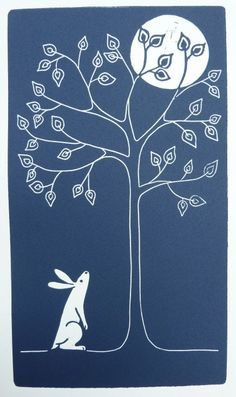 Moon Gazer- Original, hand-pulled inocut print of a moon-gazing hare in silvered dark blue. Love the contrast and transition in color between the tree, moon, and dark sky. The simplicity and line work in this piece is great. Lino Art, Doodles, Linoprint, Rabbit Art, Sgraffito, Linocut Prints, Woodblock Print, Illustrations, Printmaking