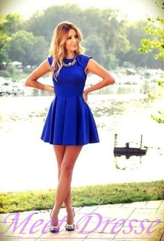 2015 Beautiful Style Royal Blue Homecoming Dresses Casual Short Prom Gown With Fitted Back Party Dress For Teens Fashion - Thumbnail 2