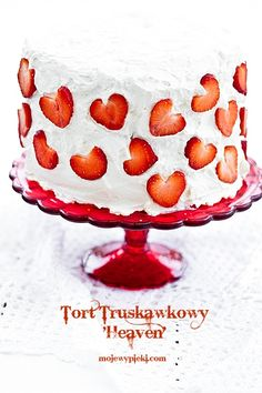 Just in time for Valentines Day!  Layers are red and white.    Tort truskawkowy 'Heaven'  (translated to English)  if not use 'select language' to translate