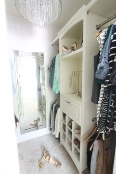 Learn how to create a beautiful walk-in closet with ease! Get the DIY details & tips to turn a step-in into a walk-in at julieblanner.com