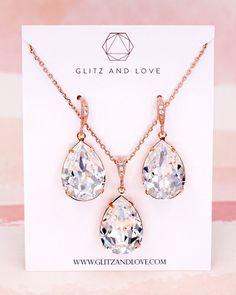 Rose Gold Crystal Teardrop Jewelry Set, Swarovski crystal, brides, bridesmaid, wedding, bridal shower gifts, necklace, earrings, www.glitzandlove.com