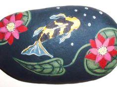 "Striking Koi Fish ""Pond"" with Red Water Lilies Hand Painted Rock Vivian Allen | eBay"
