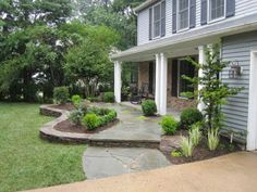 896 YDC: before and after. front yard idea - raise landscaping bed to height of front step.