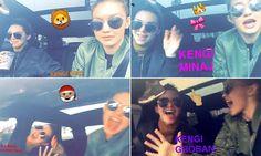 Kendall and Gigi enjoy a car-aoke session