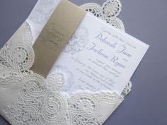 vintage wedding invitation  Lace doily and rustic by anistadesigns