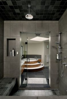 Contemporary House Interior To Merge With Nature : Modern House Interior To Merge With Nature And Grey Black White Bathroom Wall Bath Tub Shower Closet Shower Towel And Window And Ceramic Floor