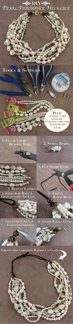 DIY Jewelry : How to Transform a Pearl Necklace from Formal to Casual using Bead Gallery beads… Pearl Jewelry, Beaded Jewelry, Jewelery, Jewelry Necklaces, Bracelets, Etsy Jewelry, Jewelry Making Tutorials, Jewelry Making Supplies, Diy Necklace