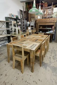 Table and chairs made from old packaging crates