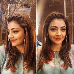 💇♀️ and 💄for @kajalaggarwalofficial #vijay61 #makeupbyloveleen #hairbyloveleen #nofilterneeded #hairgame #braids #bumbleandbumble #loreal #beccahighlighter #lip #sunsetorange #bobbibrown