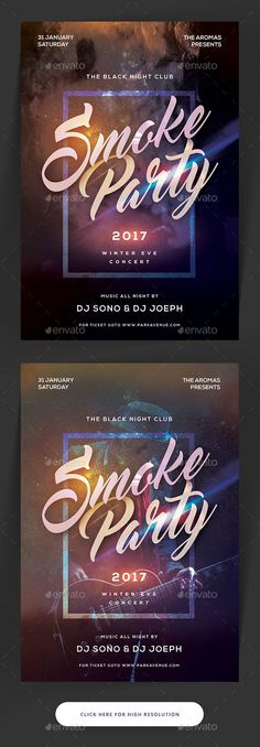 Smoke Party Flyer — Photoshop PSD #bash #nightclub • Available here → https://graphicriver.net/item/smoke-party-flyer/19302083?ref=pxcr