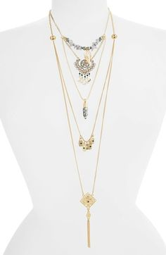 Topshop Tasseled Multi Row Necklace available at #Nordstrom