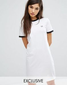 ASOS Fred Perry white t-shirt ringer dress