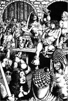 Party time – Brigands celebrate in one of the abandoned Frontier Forts of Kelnore (Jennell Jaquays, Judges Guild, 1978)