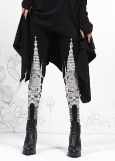 ★NEW! Gothic cathedral leggings by guest Artist, Cassie Medder. Inspired by Divine Art & Transcendental Architecture. Featuring delicate details, intricate rose windows, spindly spires, elegant archways and towering columns printed in Snow White Ink against a Midnight Black Legging. <3 ☛ready to ship!  >>>Shop Cassies gorgeous art here: https://www.etsy.com/shop/shopcasstronaut ✯✯✯✯✯✯✯✯✯✯✯✯✯✯✯✯✯  ☛This is for size MEDIUM . Please check shop sections on the ...
