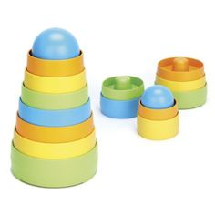Green Toys My First Stacker, Colors May Vary The My First Green Toys Stacker takes a classic toy and makes it safer and more playful. With 8 graduated pieces and no center post, it's a perfect first stacking toy for babies. Made from food-safe, 100% recycled milk jugs in the USA. No BPA, PVC, or phthalates. Recommended for ages 6 months and up.