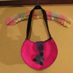 #felt handbag, pink and purple#