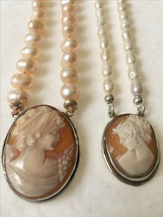 Cameo Necklaces with sweet water pearls