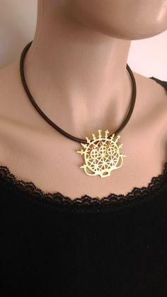 Hittite sun pendant necklace,giftsforher,bohemian jewelry,ethnic neck,Middle East,gold color,statement neck,leather,historical,boho,Anatolia by KamerJewels on Etsy