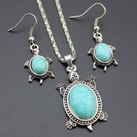 Lovely Jewelry Set Cute Tortoise Pendant Vintage Silver Plated Necklaces and Hook Pendant Earrings Fashion Turquesa Jewelry