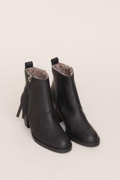 Acne Shearling Lined Pistol Short Boot (Black)
