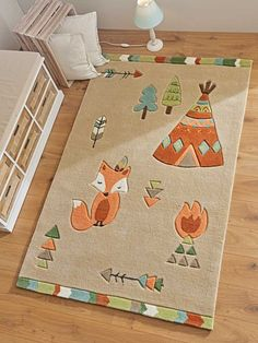 Fire, fox, forest & Indian tent – this motif invites you to playfully experience little adventures on the children's carpet and in the children's room. With its pretty color scheme and child-friendly design, this rug can be … by Cactus Wall Art, Cactus Print, Tribal Fox, Childrens Rugs, Adventure Nursery, Baby Room Art, Toddler Rooms, Baby Decor, Room Colors