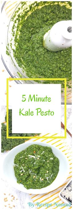 5 Minute Kale Pesto, with kale, olive oil, garlic, pine nuts and a full cup of parmesan cheese is a delicious twist on traditional basil pesto. So good, no one will believe it's made with kale!  http://www.recipenomad.com/kale-pesto-with-parmesan-and-pine-nuts/  5 Minute Kale Pesto | Recipe Nomad