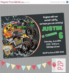 Monster Jam Party Invitations httpwwwfacebookcom