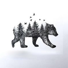 Awesome dotwork bear made from trees. Style: Dotwork. Color: Black. Tags: Best, Beautiful, Awesome