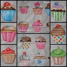 Alegria de Pintar: Pintura em tecido de cupcakes