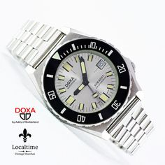 """NOS DOXA Ref. 4653 SUB """"Searambler"""" Aubry Diver Watch ETA Cal. 2872 With Date. Their length is on the buckle end [including the steel, screw-in buckle] and on the tail end. Vintage Dive Watches, Casio Watch, Rolex Watches, Diving, Luxury, Accessories, Ebay, La Mode, Clocks"""