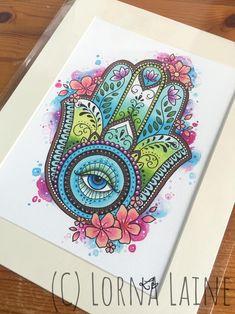 Hamsa hand tattoo print tattoo design spiritual art hand | Etsy Fatima Hand Tattoo, Hamsa Tattoo, Hand Of Fatima, Tattoo Hand, God Tattoos, Print Tattoos, Eye Painting, Hamsa Painting, Hamsa Design
