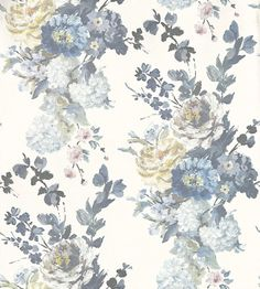 Seraphina (P610/01) - Designers Guild Wallpapers - A vivacious hand-painted floral on a plaster effect background with a fresco feel. Shown in the soft delft blue colourway. Paste the wall. Please request sample for true colour match.