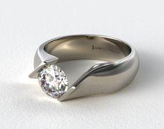 Platinum Contoured Twist Tension Set Engagement Ring