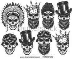 Set of Different Skull Characters – Miscellaneous Vectors – skull tattoo sleeve Hand Tattoos, Skull Sleeve Tattoos, Belly Tattoos, Skeleton Tattoos, Skull Finger Tattoos, Mexican Skull Tattoos, Indian Skull Tattoos, Finger Tats, Wolf Tattoo Design