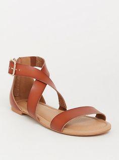 086c3720cd90f3 Brown Crisscross Gladiator Sandal (Wide Width)