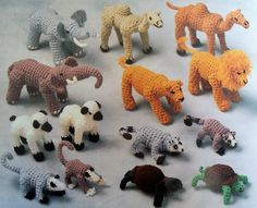 Noahs Ark, 14 Animals, Noah & Wife, Furniture   Crochet ... www.bonanza.com