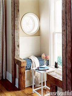 barn beams window seat