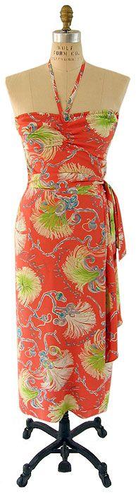 bombax pattern vintage 1940s sarong dress, vintage Hawaiian
