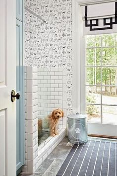 Mudroom Dog Shower - Design photos, ideas and inspiration. Amazing gallery of interior design and decorating ideas of Mudroom Dog Shower in garages, laundry/mudrooms by elite interior designers. Mudroom Laundry Room, Laundry Room Design, Veranda Design, Dog Washing Station, Dog Spa, Dog Rooms, Dog Wallpaper, Wallpaper Wallpapers, Wallpaper Ideas
