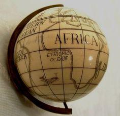 Antique Scrimshaw Miniature Globe, 18th-19th Cen.