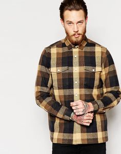 ASOS+Check+Overshirt+In+Camel+With+Long+Sleeves