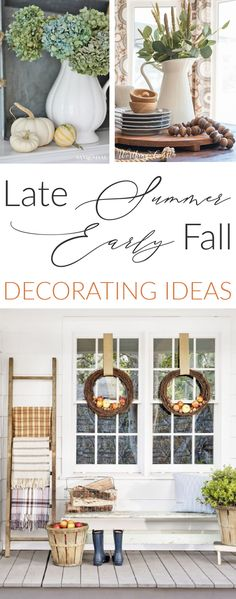 Easy ideas for late Summer and early Fall home decorating, for both interiors and porches! As well as some pretty DIY projects for you, also for indoors and out! All from a group of top DIY, Home & Lifestyle bloggers! Diy Home Decor Projects, Fall Home Decor, Autumn Home, Holiday Decor, Holiday Ideas, Decorating On A Budget, Interior Decorating, Farmhouse Style, Farmhouse Decor