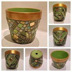 Mosaic Decorative Pots, Hostess Gift, Gold Sage Decor, Custom Colors, Handpainted Border, Kitchen Decor, Garden Decor, Iridescent Mosaic Pot