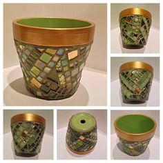 Unique Mosaic Flower Pots Custom Colors by HamptonMosaics on Etsy