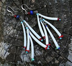 Multi Layered Dentalium Shell Earrings with by OrneryPonyStudio
