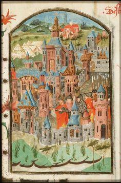 Emperor Titus entering burning Jerusalem   -  The Hague, KB, 69 B 10  Contents:  History Bible (Psalter and New Testament) Place of origin, date:  Utrecht, Gerard Wesselz. van Deventer (scribe), Master of The Hague, KB, 69 B 10 (illuminator); 1443  http://manuscripts.kb.nl/show/manuscript/69+B+10