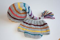 knit baby hat and diaper cover set