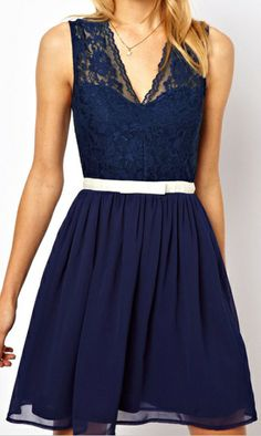 Navy Lace V-neck | Summer Dress. dresslily.com