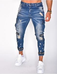 Jeans homme pas cher, jeans Redskins, jean Sixth June - Jeans Industry Jeans Cargo, Denim Jeans Men, Cropped Jeans, Jeans Pants, Jeans Homme Fashion, Mens Fashion, Fashion Outfits, Mens Clothing Styles, Pulls